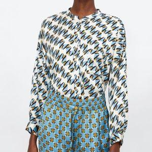 NEW Zara geometric print blouse size XL